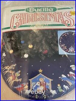 Christmas BUCILLA Felt Applique TREE SKIRT Kit, NATIVITY, 82720, BLUE Felt, Size 43