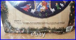 Christmas BUCILLA Felt Applique TREE SKIRT Kit NATIVITY 82720 BLUE Felt Size 43