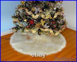 Christmas Decor Luxury Faux Fur Round Shape Tree Skirt Fake Fur Flokati Plush