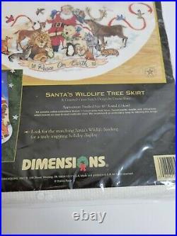 Christmas Dimensions GOLD Counted Tree Skirt 45 KIT SANTA'S WILDLIFE 8565