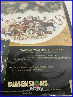 Christmas Dimensions Gold Cross Stitch Kit Santas Wildlife Tree Skirt #8565