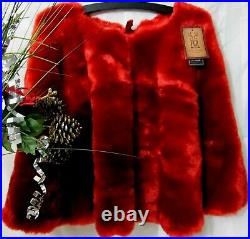 Christmas Red Faux Polar Bear Fur Tree Skirt Large 52 Thick Rich Super-Soft
