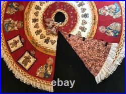 Christmas Tree 60 in. Round Skirt Gingerbread Theme Quilted, Hand-Made
