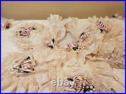 Christmas Tree Skirt Beautifully Handmade with Lace, Roses, Pearls and Ribbons