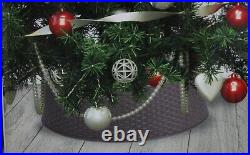 Christmas Tree Skirt Brown Festive Decoration Wicker Woven Design Stand Base
