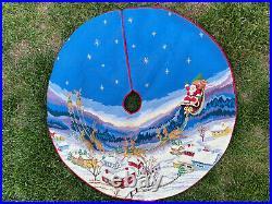 Christmas Tree Skirt Needlepoint Handmade Santa Claus Sled Reindeer Stary Sky