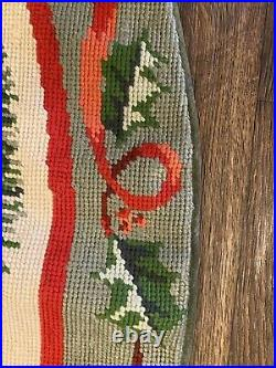 Colorful Needlepoint TREE SKIRT with CARDINALS and CHICKADEES Free Shipping
