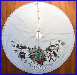 Completed Christmas Tree Skirt Cross Stitch Dicken's Village Sunset Finished