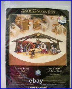 Cross Stitch Kit Nativity Scene Tree Skirt Christmas Dimensions Gold 8814 45