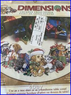 Cross Stitch Tree Skirt Kit Frisky Friends Dog Cat Christmas Dimensions OOP New