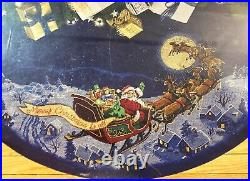 DIMENSIONS Gold Here Comes Santa Christmas Tree Skirt Counted Cross Stitch Kit
