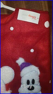 DISNEY STORE CHRISTMAS TREE SKIRT MICKEY DONALD & GOOFY as SNOWMAN Red Rare NWT