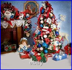 DOLLHOUSE Miniature CHRISTMAS TREE, Tree Skirt, Doll + 4 Presents Handcrafted