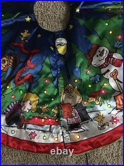 Danbury Mint Charlie Brown Peanuts LED Lighted 40 Tree Skirt Battery Plug RARE