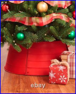 Decorative Galvanized Metal Christmas Tree Collar Skirt Ring Cover Holiday Decor