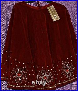 Deluxe Beaded Handcrafted Christmas Tree Skirt Red Wine Gold Trim Jeweled New