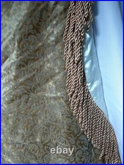 Deluxe Handsewn Vintage Christmas tree skirt-rich fabrics, bullion fringe, 56