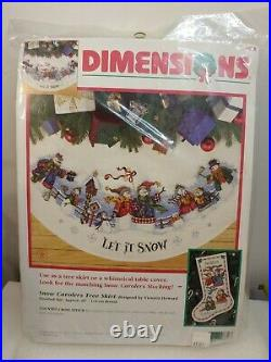 Dimensions Christmas Counted Cross Tree Skirt Craft Kit, SNOW CAROLERS, 8618,45