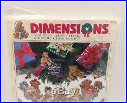 Dimensions Counted Cross Stitch Christmas Bears Tree Skirt New Sealed 8693 45