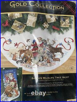 Dimensions GOLD Counted Cross Tree Skirt Kit Santas Wildlife 8565 45 Christmas