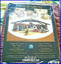Dimensions Gold Collection 8814 Christmas Cross Stitch NATIVITY SCENE Tree Skirt
