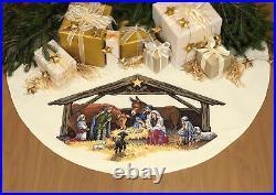Dimensions Gold Cross stitch kit Nativity Christmas Tree Skirt 45 Diameter