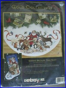 Dimensions Santa's Wildlife Christmas Tree Skirt Table Cover Kit 8565 NOS 1998