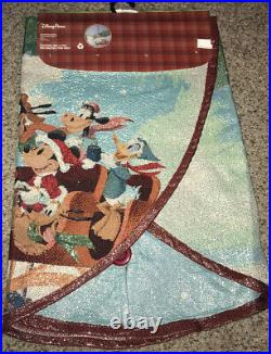 Disney Parks Mickey Mouse & Friends Tapestry Christmas Tree Skirt NEW