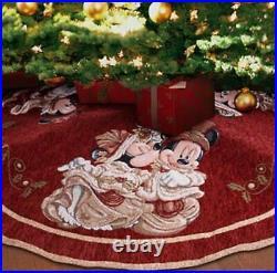 Disney Parks Victorian Mickey & Minnie Tapestry Christmas Holiday Tree Skirt NWT