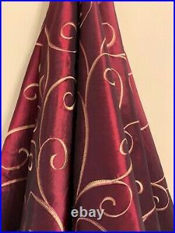 Elegant Luxurious Christmas Tree Skirt Burgundy Red Gold Faux Silk 54d