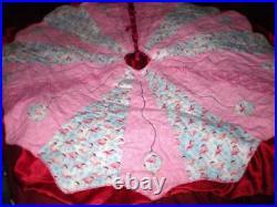 Elegant Tropicalquilted Pink Flamingo Christmas Tree Skirt 5 Ft Round