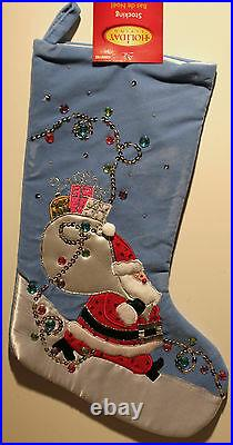FESTIVE SANTA CHRISTMAS TREE SKIRT & STOCKING Blue Velvet Applique Cute NEW