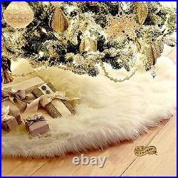 FUR ACCENTS Christmas Decoration Shaggy Faux Fur Christmas Tree Skirt 12 Colors