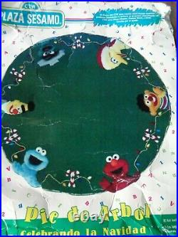 Felt Plush Stamped Sesame Street Muppets Large Rare Christmas Tree Skirt Kit 116