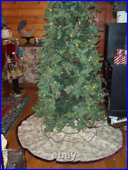 Frontgate Christmas Holiday Toile Tree Skirt Belgian Linen Mulberry 70