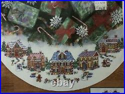 Gingerbread Land CHRISTMAS Tree Skirt counted cross stitch Kit Dimensions 8670