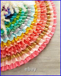 Glitterville Rows of Ruffles Christmas Tree Skirt Satin & Velvet Colorful