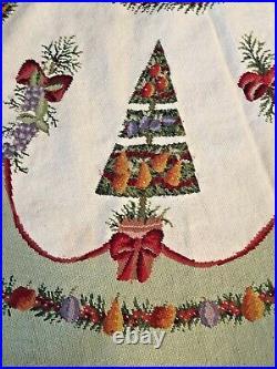 Gorgeous Vintage Della Robbia Needlepoint Christmas Tree Skirt 76 Diameter