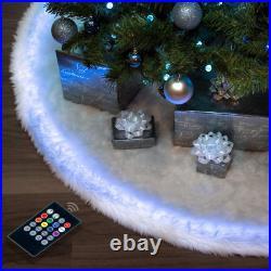 Halo Christmas tree skirt 60 Snow White Faux Fur & Programmable LED Lights &