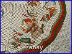 Hand Painted Needlepoint Canvas Christmas Tree Skirt Toys
