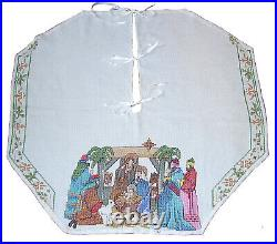 Handcrafted Counted Cross Stitch Nativity Scene Christmas Tree Skirt, Never Used