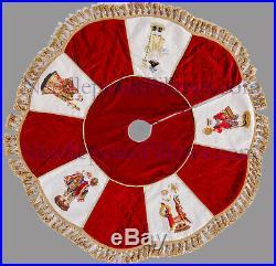 Handmade Red Velvet Santa Claus Needlepoint Christmas Tree Skirt. 52