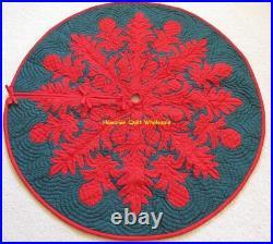 Hawaiian quilt CHRISTMAS TREE SKIRT 100% hand quilted/appliquéd BREADFRUIT 42