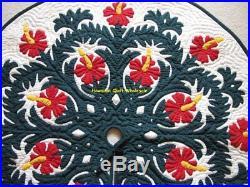 Hawaiian quilt CHRISTMAS TREE SKIRT 100% hand quilted/appliquéd HIBISCUS 42
