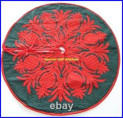 Hawaiian quilt CHRISTMAS TREE SKIRT 100% hand quilted/appliquéd PINEAPPLE 42