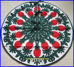 Hawaiian quilt CHRISTMAS TREE SKIRT 100% hand quilted/appliquéd PINEAPPLE 42 D