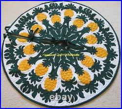 Hawaiian quilt CHRISTMAS TREE SKIRT 100% hand quilted/appliquéd PINEAPPLE 60 D
