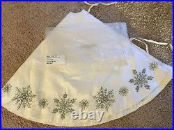 Horchow Holiday 54 Round Christmas Tree Skirt White w Beads Crystals NEW