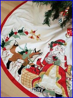 House of Hatten D Calla Santa Tree Skirt 60 Christmas Appliqués Cardinals