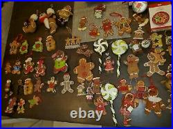 Huge Lot Christmas Gingerbread Ornaments Tree Skirt Stockings Preowned